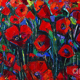 Mona Edulesco - POPPIES SYMPHONY modern impressionist palette knife oil painting