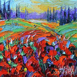 Mona Edulesco - POPPY FIELD IMPRESSION modern impressionist impasto palette knife painting