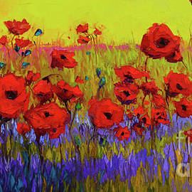 Poppy Flower Field Oil Painting With Palette Knife by Patricia Awapara