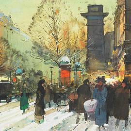 Eugene Galien-Laloue - Porte Saint Martin, Paris under the snow