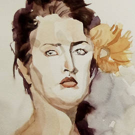 Greta Corens - Portrait of a Young Woman with Flower