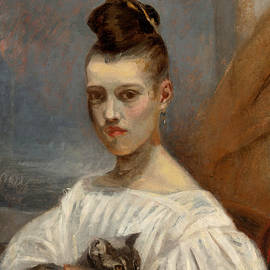 Antoine-Louis Barye - Portrait of Clara daughter of the artist with cat