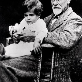 Portrait of Sigmund Freud with his grandson - German School