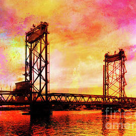 Portsmouth Memorial Bridge Abstract At Sunset by Anita Pollak