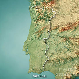 Frank Ramspott - Portugal Country 3D Render Topographic Map Border