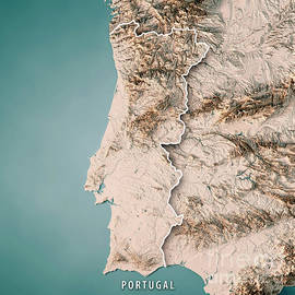 Frank Ramspott - Portugal Country 3D Render Topographic Map Neutral Border