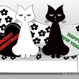 Barefoot Bodeez Art - Posh Cats Christmas - Black and White