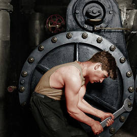 Power House Mechanic Working On Steam Pump By Lewis Hine Colorized 20170701 by Wingsdomain Art and Photography