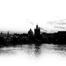 Prague Skyline Silhouette Black And White by Sharon Popek