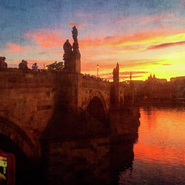 Prague. Sunset on the Vltava river. Picture in picture by Gerlya Sunshine
