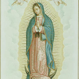 French School - Prayer card depicting Our Lady of Guadalupe