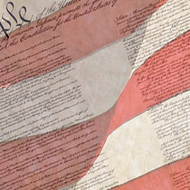 Preamble Of The Constitution Of The United States With Us Flag by Jack R Perry
