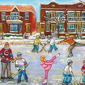Pretty Little Pink Skater And Hockey Dad Share Ice Time Snowy Montreal Duplexes C Spandau Art by Carole Spandau