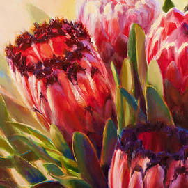 Pink Mink Protea - Tropical Flowers - Botanical Floral Painting - Hawaii Art - Protea Neriifolia by K Whitworth