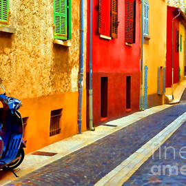 Provence Street with Scooter - Olivier Le Queinec