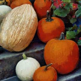 Pumpkins On The Steps by Patricia Strand