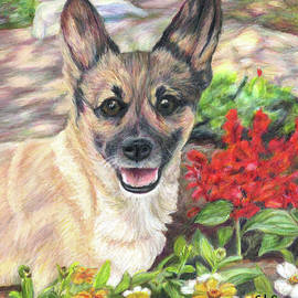 Pup in the Garden by C L Swanner