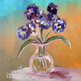Purple and Blue Pansies In Glass Vase by Lois Bryan