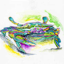 Shelly Tschupp - Purple Blue Yellow Sea Watercolor Series 2 Blue Crab