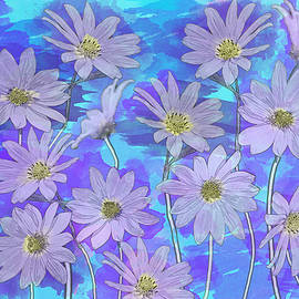 Purple Teal Daisy Watercolor by Patti Deters