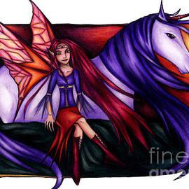Purple Unicorn With Fairy Friend by Kristin Aquariann