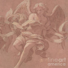 Putto and Angel Holding a Banderole, 1706  - Antonio Franchi