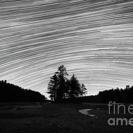 Quabbin Reservoir Star Trails Bw by Michael Ver Sprill