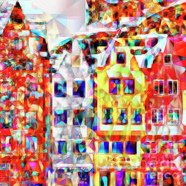 Wingsdomain Art and Photography - Quaint European Town in Abstract Cubism 20170329