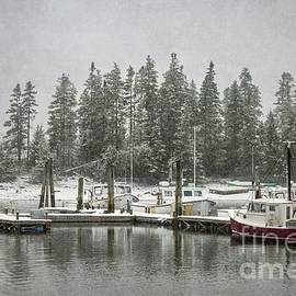 Quaint Snowy Harbor by Karin Pinkham