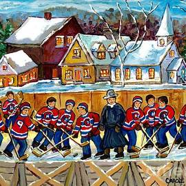 Quebec Village Country Scene Hockey Rink Painting Montreal Canadiens Rink Hockey Game C Spandau Art  by Carole Spandau