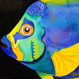 Queen Angelfish on Black by Brenda Tucker