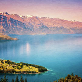 Joan Carroll - Queenstown New Zealand from Above Painterly