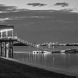 Quincy Ma Wollaston Beach As Dusk Black And White by Toby McGuire