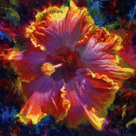 Hawaiian Flower Painting of Rainbow Hibiscus Blossom Tropical Flower Wall Art Botanical Oil Painting by K Whitworth