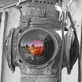 Railroad Light Selective Color Art by Lesa Fine