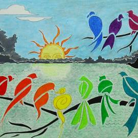 Rainbow Birds Sunrise -- Stylized Birds on Branches in Rainbow Colors by Jayne Somogy