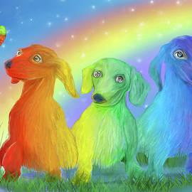Rainbow Dachshunds 2 by Carol Cavalaris