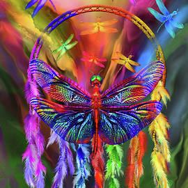 Rainbow Dragonfly Dream Catcher by Carol Cavalaris