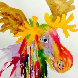 Rainbow Moose Head  - Abstract by Ellen Levinson