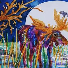 Rainbow Moose Night Grazing by Ellen Levinson