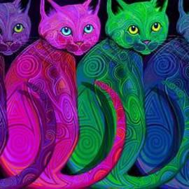 Nick Gustafson - Rainbow of Tribal Cats