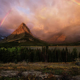 Rainbow Over Mt Gould by Rick Strobaugh