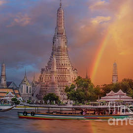 Rainbow Over Wat Arun, Bangkok, Thailand by Liesl Walsh