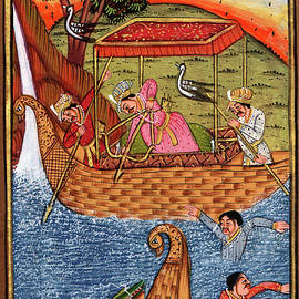 M B Sharma - Rajput Royal King Miniature Painting Artwork Drawing Crocodile Hunting Scene,Indian Watercolor
