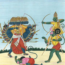 B K Mitra - Ramayana, Lanka kanda Shri Rama Slaying Ravana Indian Tapestry Indian Miniature Watercolor Painting