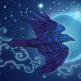 Raven New Moon digital coloured by Katherine Nutt
