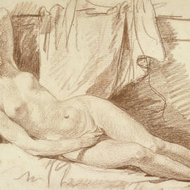 Reclining Female Nude- Study for Aegina visited by Jupiter - Jean-Baptiste Greuze