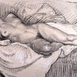 Reclining Female Nude by Theophile Alexander Steinlen