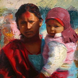 Karen Whitworth - Red and Blue Portrait of Nepalese Mother and Child