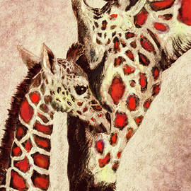 Red And Brown Giraffes by Jane Schnetlage